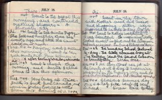 Margery Barrett's diary for 18-19 July, 1940-45 | Contributed to Letter in the Attic by Liz Thomas. Click to see fullsize.