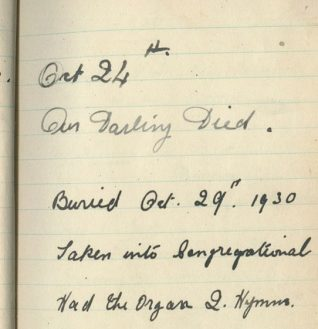 Florence Elphick's diary records the day her daughter Ivy died, Oct 24th 1930 | Contributed to Letter in the Attic by Shirley Halls