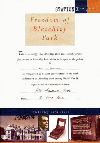 Certificate giving Cyril Fairchild the freedom of Bletchley Park, 2001 | Contibuted to Letter in the Attic by Beryl Payne and Cyril Fairchild