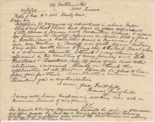 Letter of application from Thomas Fairchild for a post as a joiner | Contributed to the Letter in the Attic by Beryl Payne