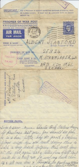 Letter from Evelyn Desborough to Albert Stanford, April 1945 | Contributed to the Letter in the Attic project by John Desborough