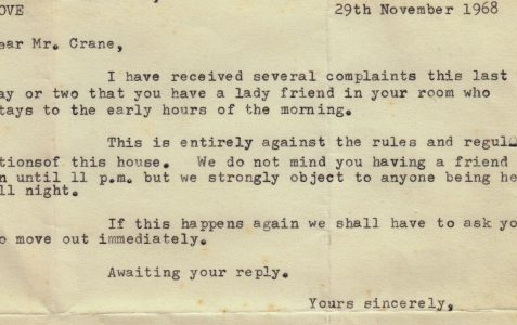 A landlord writes to Michael Crane, 1968