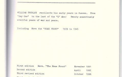 Memoir of Bill Thurley, 1930-1950
