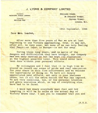 Letter from the management of J Lyons and Company Ltd to Millie Lander | Contributed to the Letter in the Attic by Victor Lander