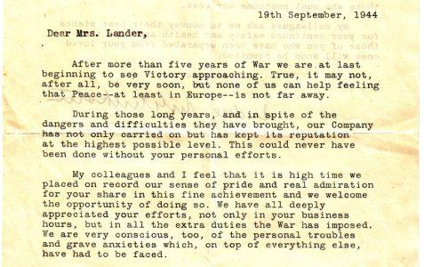 Letter to Millie Lander, 1944