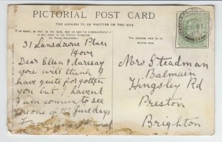 Reverse of postcard from Annie Hammond, 4th Dec 1904 | Contributed to the Letter in the Attic by Hannah Marshall-Quinn