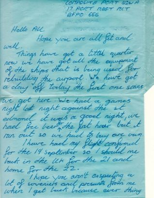 Letter from Brian Tucknott in the Falklands, Sep 1982 | Contributed to the Letter in the Attic by Beryl Tucknott