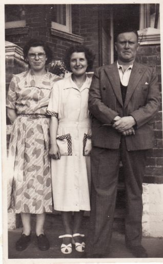Margaret Rich aged 15 with Win and Ted in front of house in Balfour Road, Brighton, 1948 | Contributed to Letter in the Attic by Margaret Rich