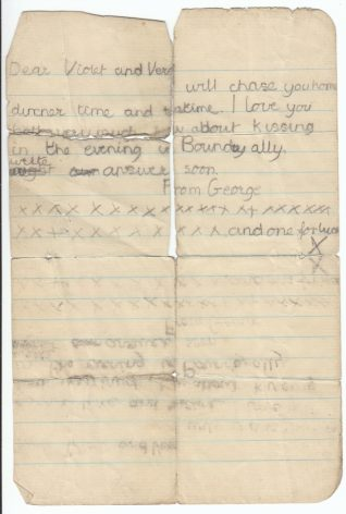 George proposes to meet in Boundry Alley, c1936   Contributed to Letter in the Attic by Tricia Leonard