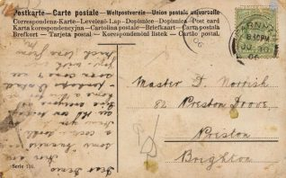 Postcard sent to Master D. Norrish [Denis] from M (back) | Contributed to Letter in the Attic by Chris Marshall