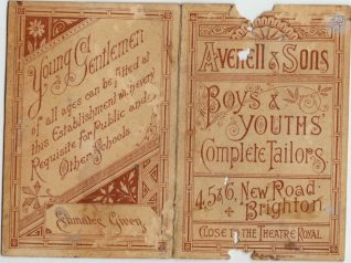 Advert for Averills and Sons, tailors of 4, 5 and 6 New Road, Hove, c1915 | Contributed to Letter in the Attic by Chris Marshall