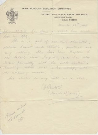 Letter of reference from Ms L.A. Beaton, headmistress of East Hove Senior School for Girls, for Eileen Pickett, Dec 1942 | Contributed to the Letter in the Attic by Eileen Odom