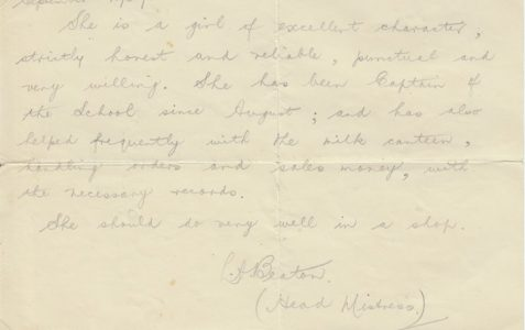 Letter of reference for Eileen Odom, nee Pickett, 1942