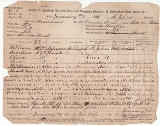 Application No 1 to the Mendicity Society, 1872. Click to see fullsize. | From the records of the Money Advice and Community Support Service