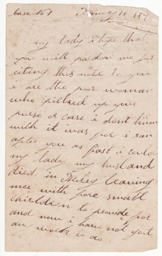 Letter from Caroline Homewood written in 1873. Click to see full-size. | From the records of the Money Advice and Community Support Service