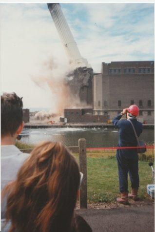 Photo of the demolition of Shoreham power station chimney, 16th July 1988 | Contributed to the Letter in the Attic by Audrey Buttimer