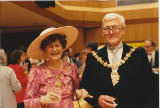 Photo of the Mayor and Mayoress of Hove, James and Audrey Buttimer, 1988 | Contributed to the Letter in the Attic by Audrey Buttimer