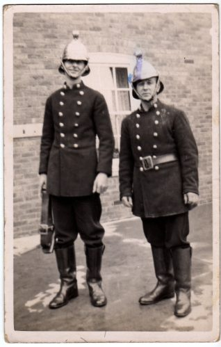 Albert Catten and Arthur Johnson in their Fireman's uniforms, 1937 | Contributed to Letter in the Attic by Darren Eaton