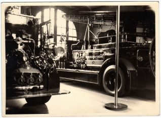 Two fire engines inside Hove Street Fire Station, c1940 | Contributed to Letter in the Attic by Darren Eaton