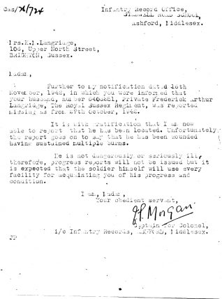 Letter from the Infantry Record Office to Kathleen Mary Langridge, December 1942 | Contributed to the Letter in the Attic by Jill Langridge