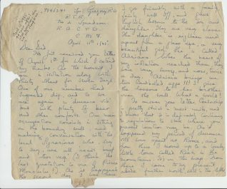 Letter from Robert Gregory sent from Gubbio, Italy, April 1945 | Contributed to the Letter in the Attic by Robert Gregory