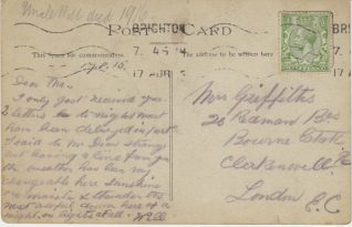 Postcard sent from Will Griffiths convalescing at the Royal Pavilion, Brighton | Contributed to the Letter in the Attic by Ronda Gregory