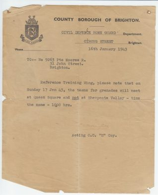 Letter from Civil Defence Home Guard department, 16th Jan 1943 | Contributed to the Letter in the Attic by Reg Moores