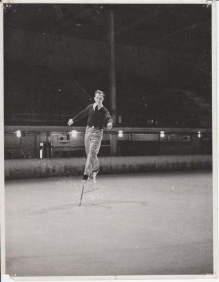 Photo of Reg Moores on ice skate stilts, c.1945 | Contributed to the Letter in the Attic by Reg Moores