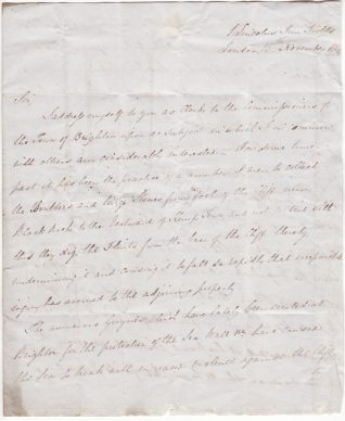 Letter from Mr James Ingram to Lewis Slight, Clerk to the Brighton Town Commissioners | Contributed to the Letter in the Attic by Chris Skingsley