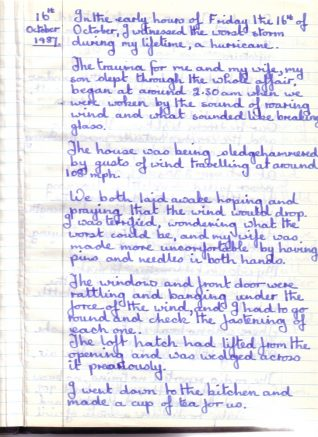 First page of the diary entry made by Trevor Povey on 16th Oct 1987 | Contributed to the Letter in the Attic by Trevor Povey