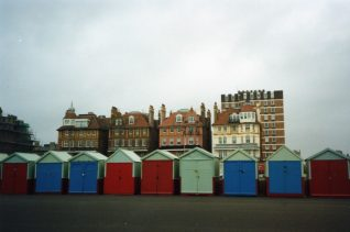 Photograph of beach huts in Hove by Sharon Forsdyke, Sept 1991 | Contributed to the Letter in the Attic by Sharon Forsdyke
