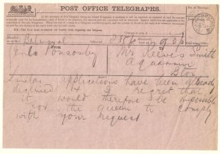 Telegram to manager of Brighton Aquarium from Balmoral turning down request to the Queen, 1878   Contributed to Letter in the Attic by Edward Scale
