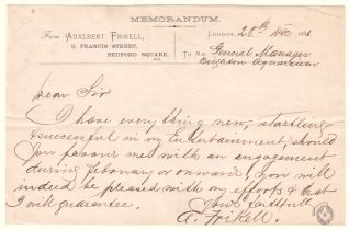Note from entertainer Adalbert Frikell to manager of Brighton Aquarium requesting a booking, 1881 | Contributed to Letter in the Attic by Edward Scale