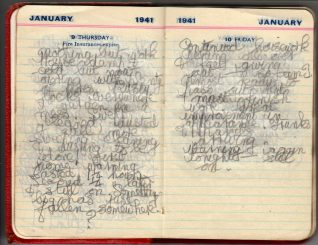 Pages from diary of Hinda Harris, 9 and 10 January 1941. Click to see full-size. | Contributed to Letter in the Attic by Sarah and Sophie Harris