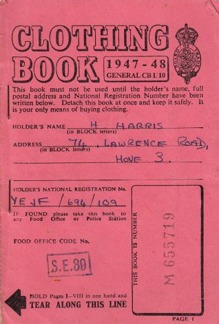 Ration book of Hinda Harris, from 1947-1948. Some coupons are unused. | Contributed to Letter in the Attic by Sarah and Sophie Harris