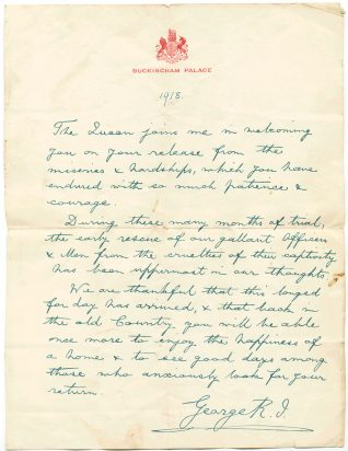 Letter to Alfred Langrish from Buckingham Palace, 1918. Click on the photo to see it fullsize. | From the Letter in the Attic collection