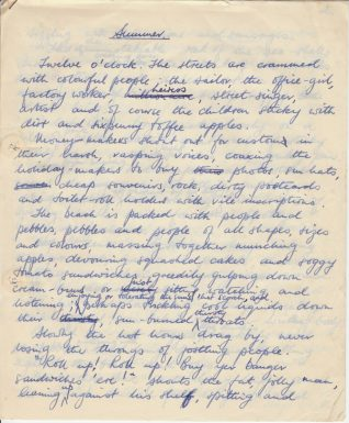 Handwritten essay entitled 'Summer' by Beryl Payne, July 1961 | Contributed to the Letter in the Attic by Beryl Payne