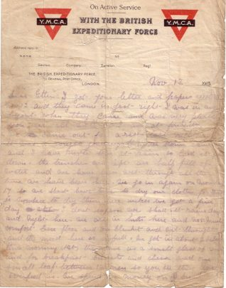 Letter to his wife Ethel Whitehouse describing arrival in the trenches and rations | 13 November 1915