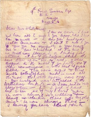 Letter of condolence to Ethel Whitehouse from Lieutenant J J Banham | 6 Mar 1916