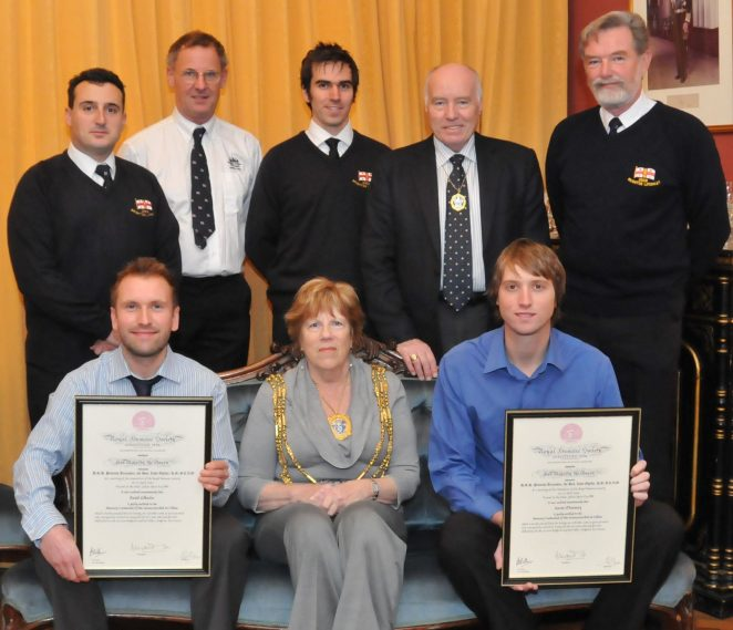 The Mayor, Councillor Ann Norman, Mayor's Consort, Councillor Ken Norman and the brave rescue team | Photo by Tony Mould
