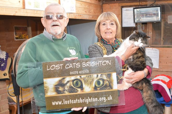 Founder of LostCatsBrighton Ron Ayres and the Mayor of Brighton and Hove Councillor Lynda Hyde