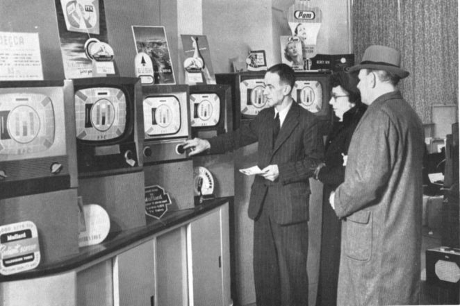 Demonstrating a television at Lyon and Hall   From the private collection of Andy Grant