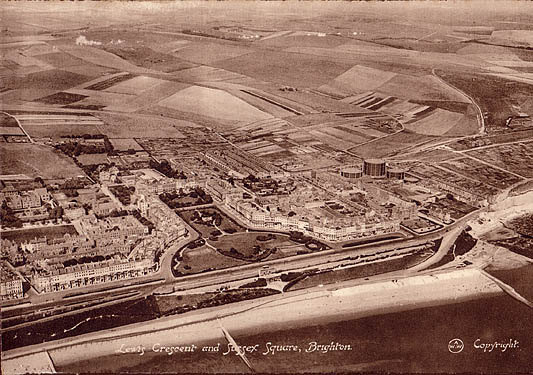 Photograph of Lewes Crescent and Sussex Square, aerial view | Image reproduced with permission from Brighton History Centre