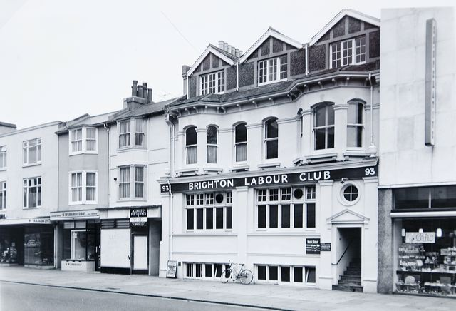 London Road showing Brighton Labour Club and the Co-operative store just showing on the right of the photograph | Image reproduced with kind permission of The Regency Society and The James Gray Collection