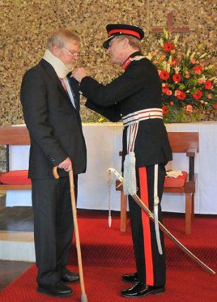 Mr Robert Brown, received his MBE award from the Lord-Lieutenant of East Sussex, Mr Peter Field | Photo by Tony Mould