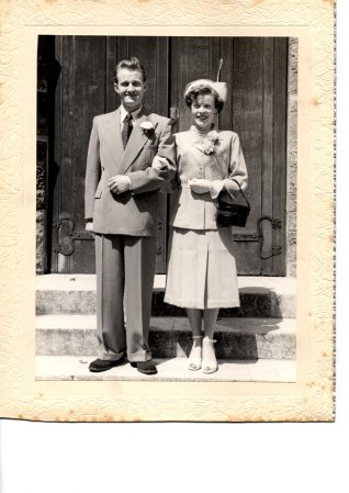 1952 Wedding of Jack Pain and Mary Pain (nee Bermingham). Click on the photograph to open a large version in a new window. | From the private collection of Janet Hunt