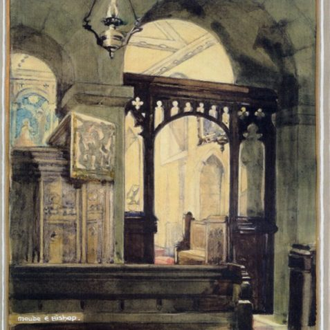 Water colour of St. Wulfrans by local artist Maude Bishop c1964   From the private collection of Jennifer Drury
