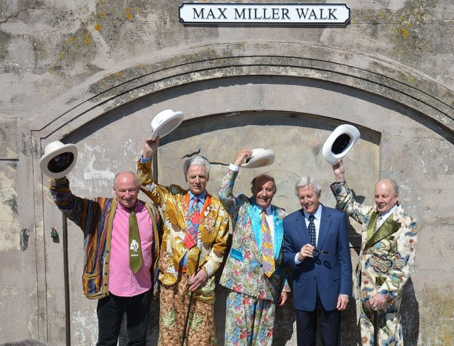 Michael Aspel and members of the Max Miller Appreciation Society | Photo by Tony Mould