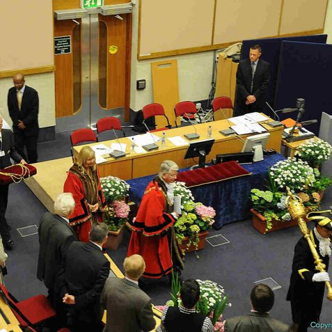 Led by the Mace Bearer Robert Robertson, the mayoral party leave the chamber | Photo by Tony Mould