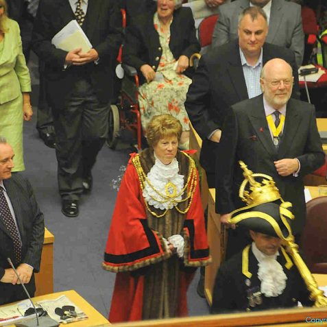 Having been dressed in the mayoral robes, The Mayor, Councillor Ann Norman re-enters the chamber